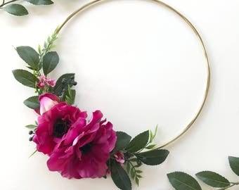 Spring Wreath- Modern Wreath- Anemone Flower- Hoop Wreath- Nursery Wall Decor- Bridal Flower Hoop- Door Wreath- Wall Hanging- Nursery Decor