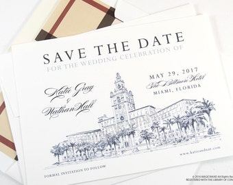 The Biltmore Hotel Miami Wedding Save the Date Cards, Save the Dates, Wedding, Hand Drawn (set of 25 cards)