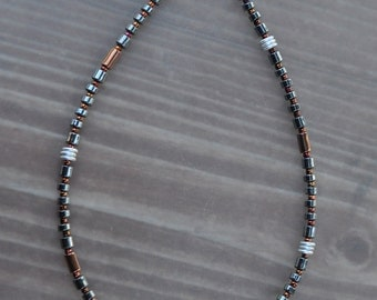 Hematite Copper and Silver Anklet