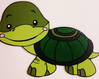 Baby Turtle Wood Wall Art Forest Decor Nursery Toddler Child's Boy's Girl's Bedroom Decoration or Birthday Party or Baby Shower Prop