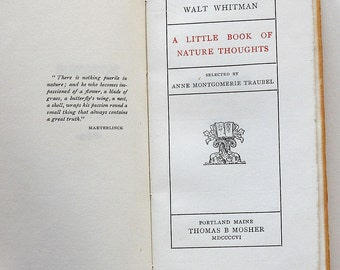 1906 Walt Whitman Nature Thoughts Printed Thomas B. Mosher Portland Maine Poetry Book