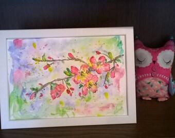 Cherry Blosson Original Watercolour