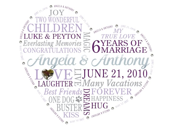 6th Wedding Anniversary Gift For Husband : 6th Anniversary Framed Print, Personalized Anniversary Gift for ...
