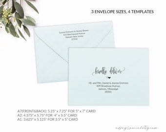 Printable Envelope Template , Editable Envelope Template, A7, A2, A1, Wedding Envelope Addressing Template, RSVP Envelope
