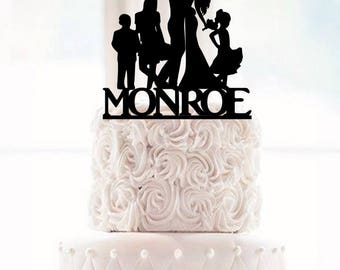 Wedding Cake Topper Dancing Bride and Groom Wedding Cake Topper with surname and children son Groom Dancing Cake Topper family Silhouette