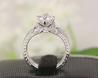 Wedding Ring Set, Round Cut Bridal Set, Art Deco Silver CZ Engagement Ring, Solitaire 1 Carat Bridal Set, Carat Round Cut CZ
