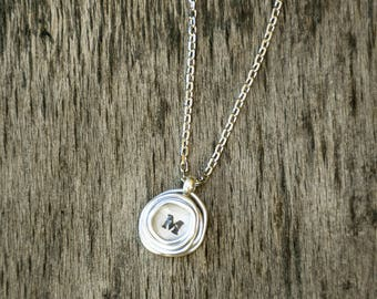 Personalized Initial Necklace, Delicate Letter Necklace, Custom Necklace, Silver Pendant Necklace, Initial Jewelry, Initial Wrapped Pendant.