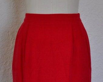 Retro/ Vintage Red Silk Skirt. Pencil skirt. 1980s. 1990s