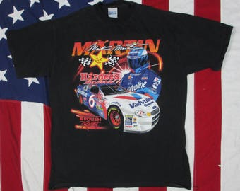 Vintage 1990's Mark Martin and Jeff Burton NASCAR Graphic T-Shirt Large/XL Tultex Stock Car Hardee's Valvoline Racing #6 #99 Daytona Indy