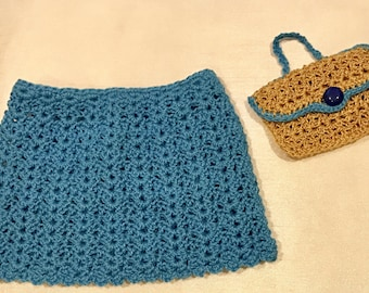 "18"" Doll Skirt and Purse - Handmade Crochet Blue Skirt and Gold Purse for 18"" American Girl Doll - Item D72"