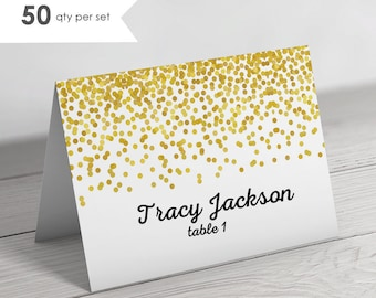50 Tent Place Cards- Folded Place Cards- Wedding Place Cards- Wedding Name Cards- Gold Place Cards- Gold Wedding- Gold Name Cards Wedding