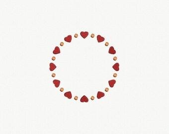 Hearts Monogram Frame Machine Embroidery Design - 4 Sizes