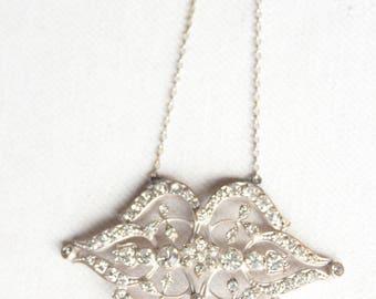 Art Deco 1910 Necklace Rhinestone Pendant