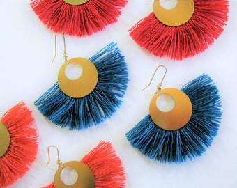 EARRINGS moons Golden, blue green. Barn blue-Peacock earrings