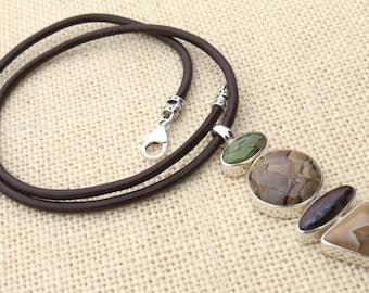 Gasperite Jasper Sterling Silver Cabochon Pendant on Brown Leather Cord.