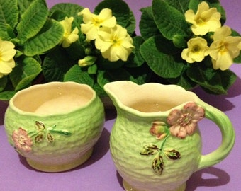 Vintage wild rose jug and bowl by Shorter & Son, England.