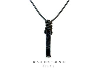 Men's Gemstone Onyx Pendant Necklace Adjustable Black Leather Man Holiday Summer Trending Item 2017 Barestone Bitcoin Accepted