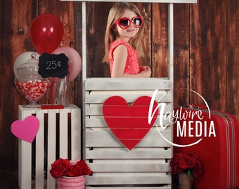 Baby, Toddler, Child, Kissing Wooden Booth on Wood Background - Love Kisses Stand for Valentine's Day - Digital Photography JPG Backdrop