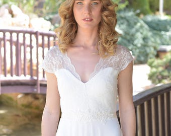 Zoe - Romantic wedding dress with lace top and chiffon skirt, boho wedding dress, backless  wedding dress, beach wedding dress