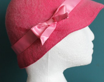 Pink Hat by Kates Boutique Brushed Wool Blend Pink Ribbon Hat Band