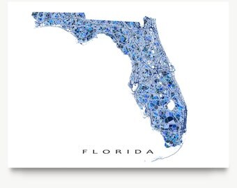 Florida Map Print, Florida State Art, FL Wall Decor