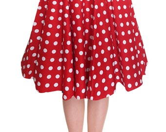 Full Circle Skirt Red Polka Dot Skirt Red Skirt Swing Skirt Pin Up Skirt Rockabilly Skirt 50s Skirt Retro Skirt Party Skirt Pin Up Clothing
