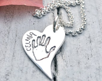 YOUR CHILD'S Handprint - Personalized Jewelry - Womens Necklace - Baby hand print PENDANT - memorial jewelry - infant loss - newborn