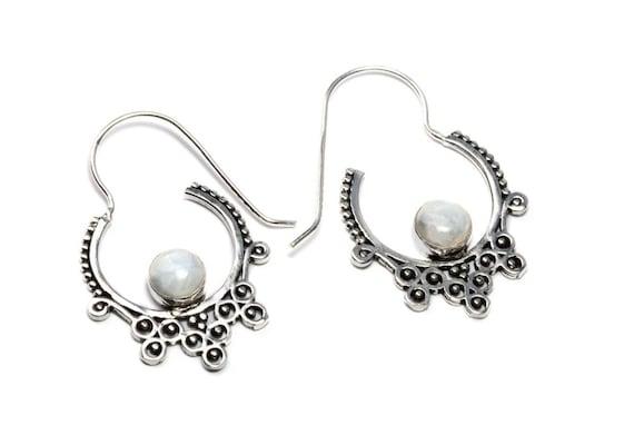 White Brass Moonstone Gemstone Hoop Earrings Tribal Earrings Ethnic Inspired Jewellery Free UK Delivery Gift Boxed WB57