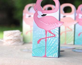Flamingo Party Gift Box Printable, Flamingo favor bag + editable palm tags, Flamingo party favors, flamingo wedding, instant download