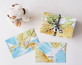 Map Envelopes | Small Envelopes | Little Envelopes | Vintage | Atlas Envelope | Business cards envelopes | Unique gift | Mothersday gift