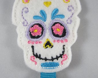 NEW sugar skull felt embroidered hair clip