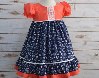 Girls Dress, Easter Dress, Spring dress, Coral and Navy Dress, Floral Print Dress, Special Occasion, Toddler Dress, 3T Ready to Ship