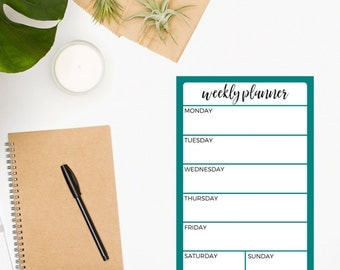 Weekly Planner Notepad • To Do List • Turquoise Notepad • Weekly Notepad • Daily Planner • Organization Notepad • Productivity