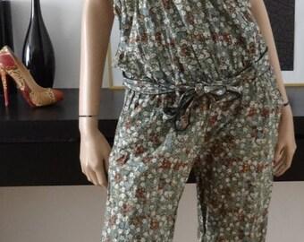 Combi-pantalon liberty vert kaki fleuri taille 38/40 - combinaison/jumpsuit