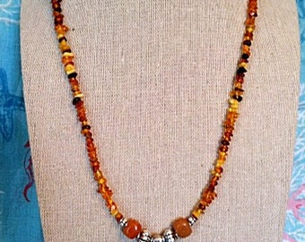 Fossilized Baltic amber ancient ammonite necklace, fossil necklace, boho beach nautical necklace