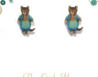 Beatrix Potter Tom Kitten Fine Detail Sterling Silver 925 Stud Earrings
