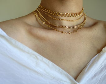 Gold Chain Choker Necklace  - 24K Gold Plated - Gold Necklace - Gold Chain Necklace - Gold Chain Choker