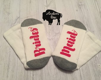 Custom Bridesmaid socks. Perfect gift and accessory for your Bridesmaid, Maid of Honor and Matron of Honor!