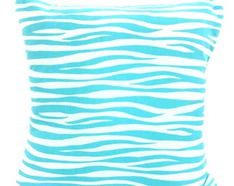 Aqua Pillow Covers, Decorative Throw Pillows, Cushions, Aqua White Miami, Couch Bed Pillow, Throw Pillow, Pillow Case, One or More All Sizes