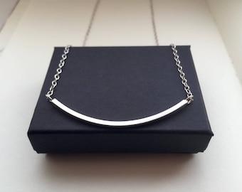 Silver arc necklace bar necklace curve necklace minimalist jewellery geometric necklace silver jewellery