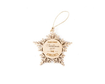 Our first Christmas ornament - Personalized newlywed wedding gift, 3.5 inch diameter, ready to hang