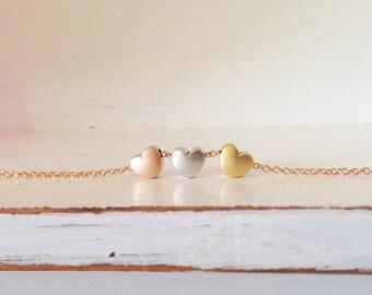 Cute Heart Charm Bracelet in Rose Gold Chain, Cute Dainty Bracelet, Beaded Bracelets - CHBR