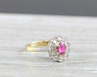 Ruby and diamond Edwardian engagement ring in 18 carat gold and platinum antique vintage for her