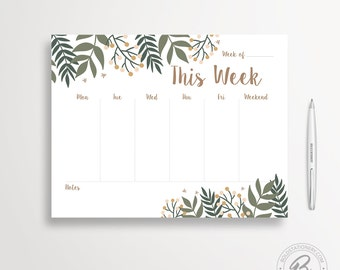 Weekly Planner Printable 01, Illustrated Weekly Desk Planner, Weekly Planner Kit, Printable Planner Inserts, Weekly Schedule, Weekly Agenda