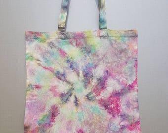 Multi coloured tie dye tote bag.