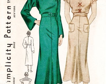 1930s dress 2 styles art deco sleeves pleats lace up Vintage Sewing Pattern bust 38 Instant Download