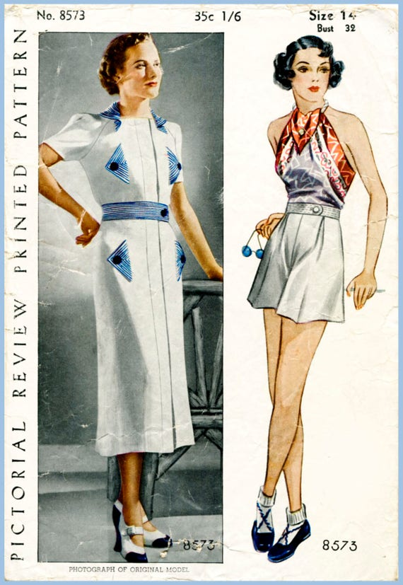 1930s Dresses, Clothing & Patterns Links 30s 1930s repro vintage womens sewing pattern blouse playsuit shorts beach romper bust 32 b32 Pictorial Review 8573 reproduction  AT vintagedancer.com