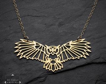 Animal necklace, owl necklace, owl geometric necklace, owl bird necklace, unique necklace, gift for her, gold necklace, everyday necklace