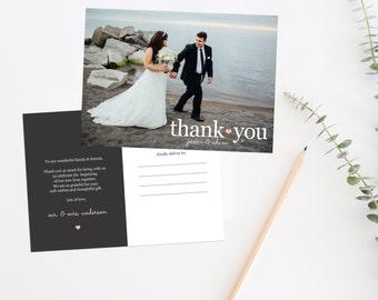 Printable Wedding Thank You Card, Wedding Thank You Postcard, Wedding Photo Postcard, Wedding Photo Thank You Card