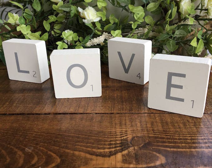 White Wooden Scrabble Blocks - LOVE